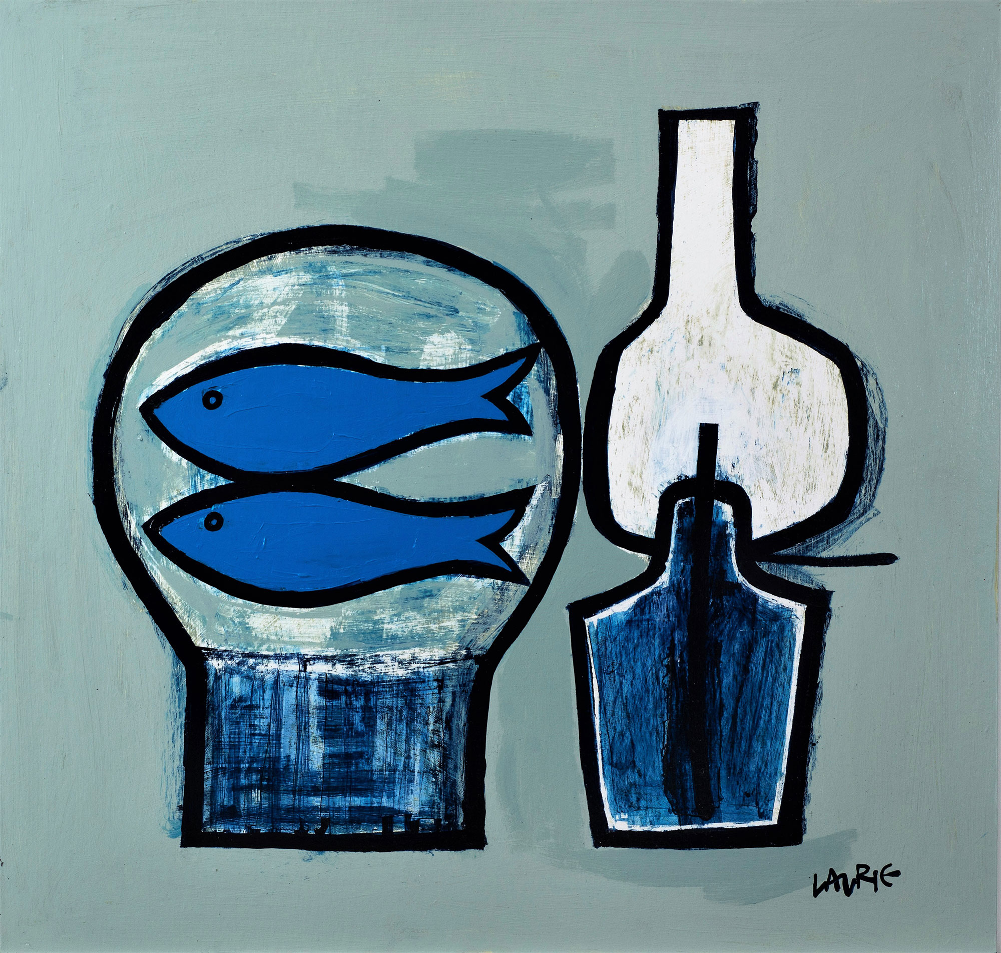 Simon Laurie Blue Fish and Lamp