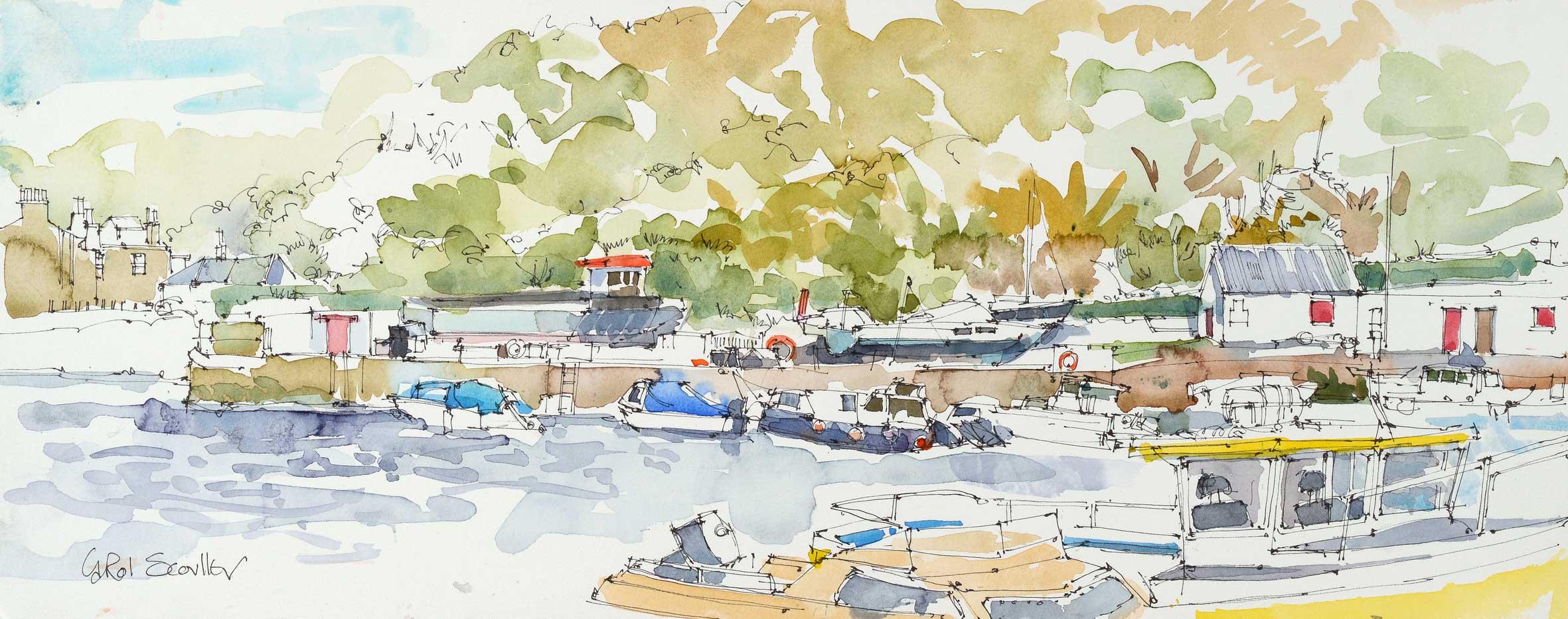 Carol Scouller Boats, High Tide, Dunure Harbour