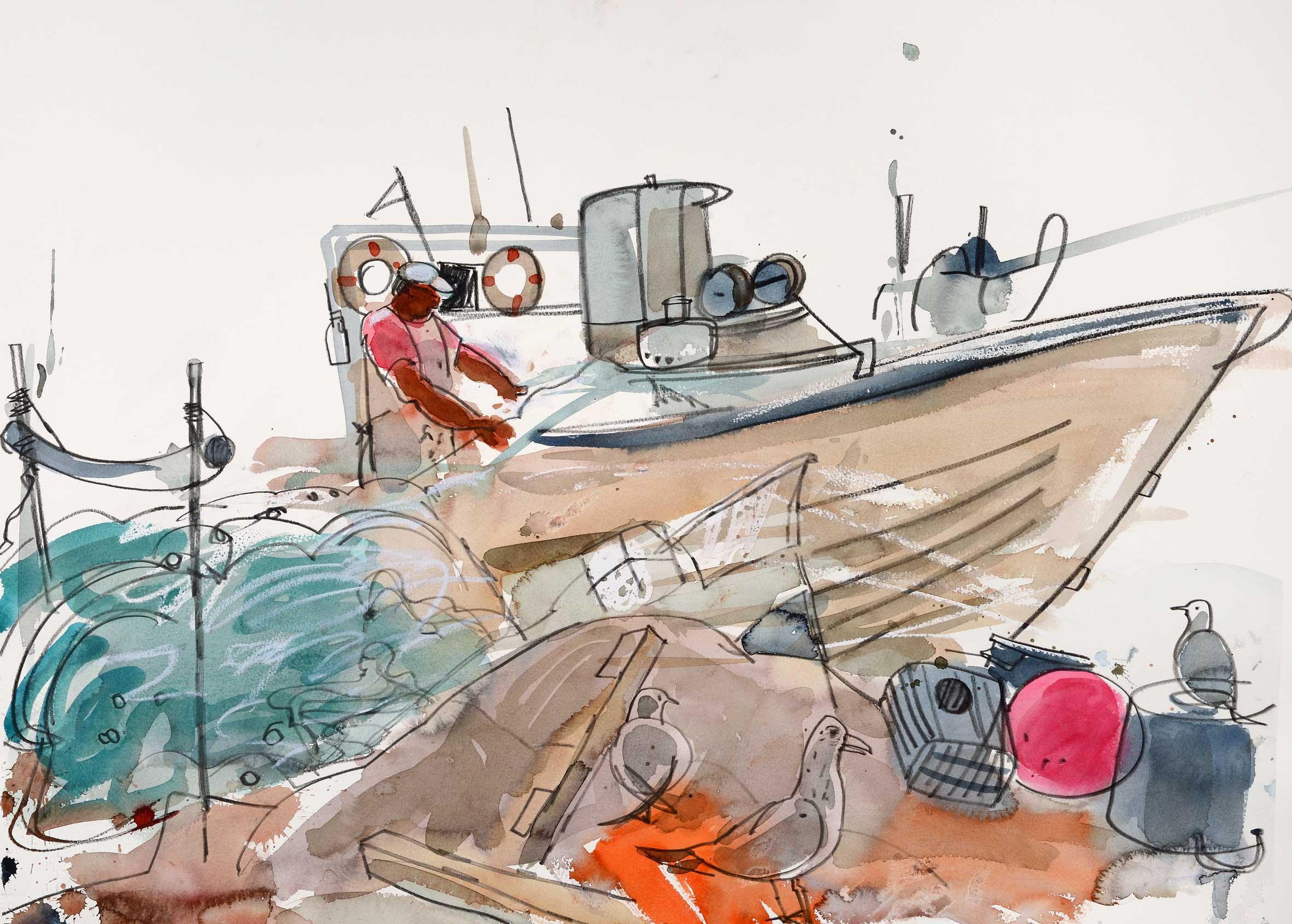 Glen Scouller RSW RGI Fisherman, Algarve