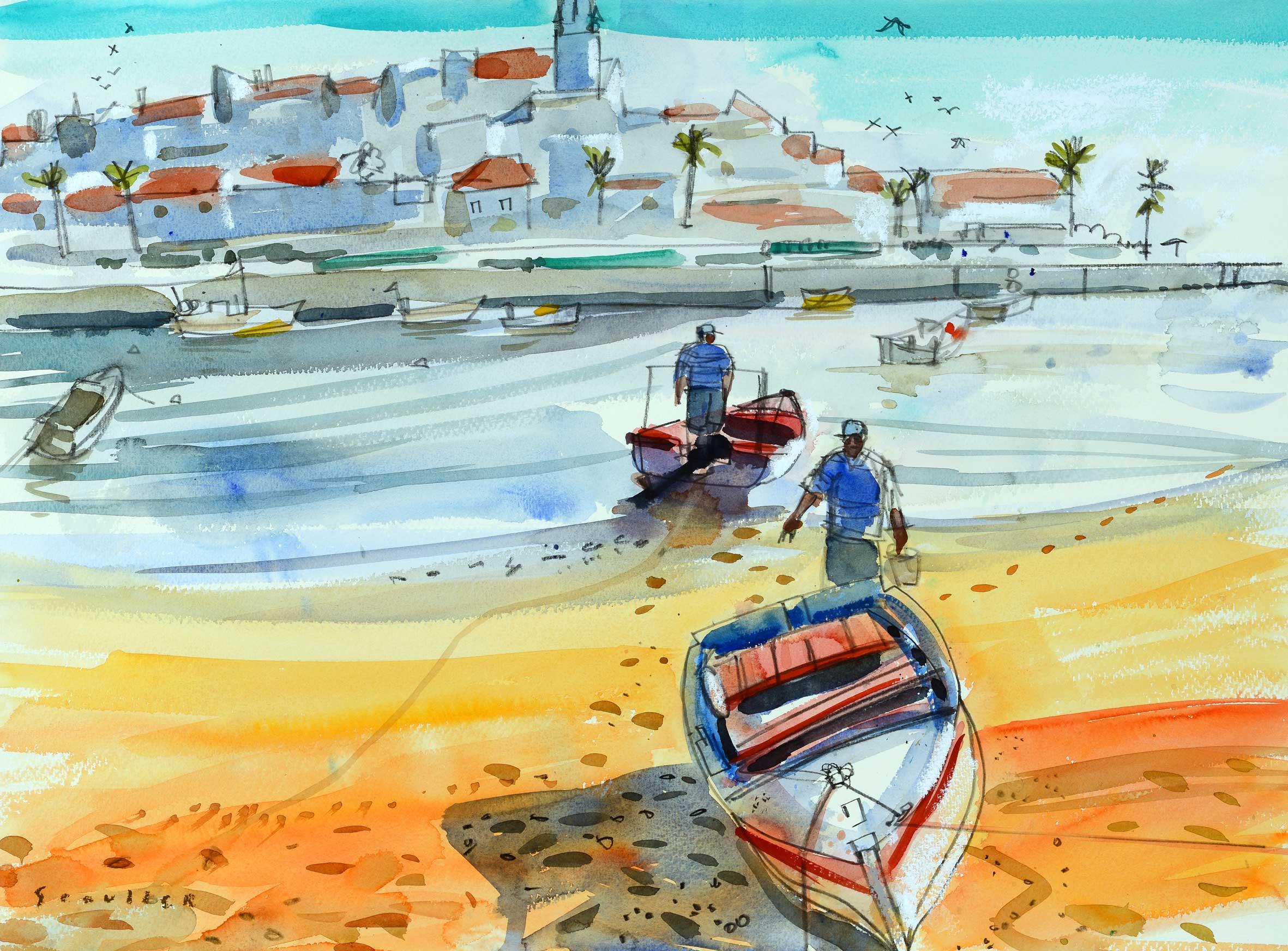 Glen Scouller RSW RGI Fishermen, Ferragudo