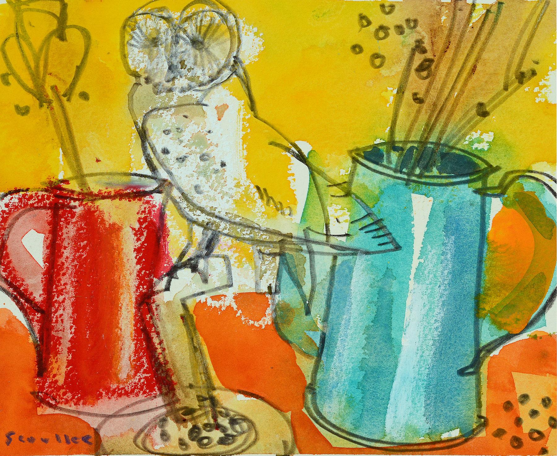 Glen Scoulier Owl and Two Jugs