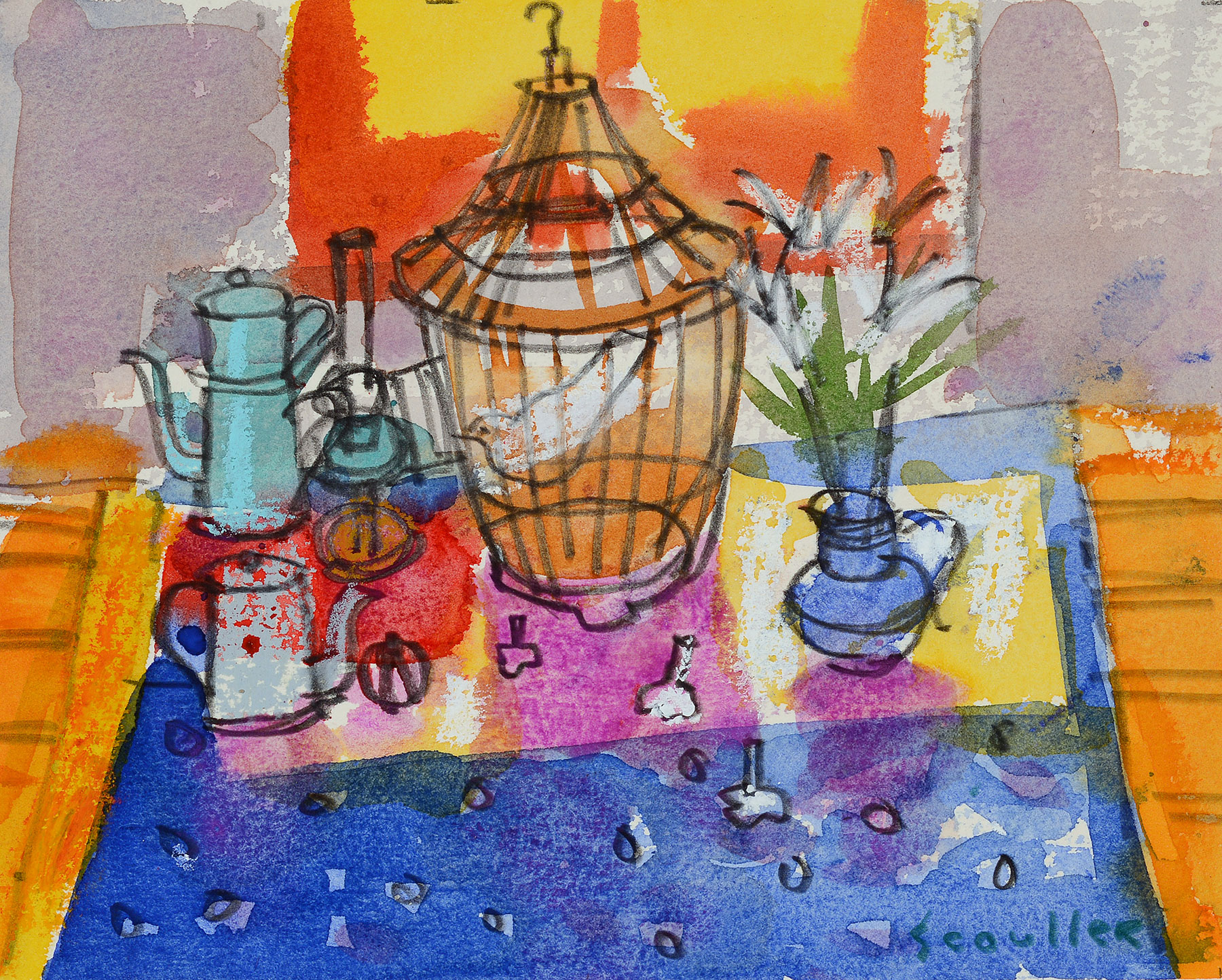 Glen Scoulier Still Life with Stargazers and Birdcage