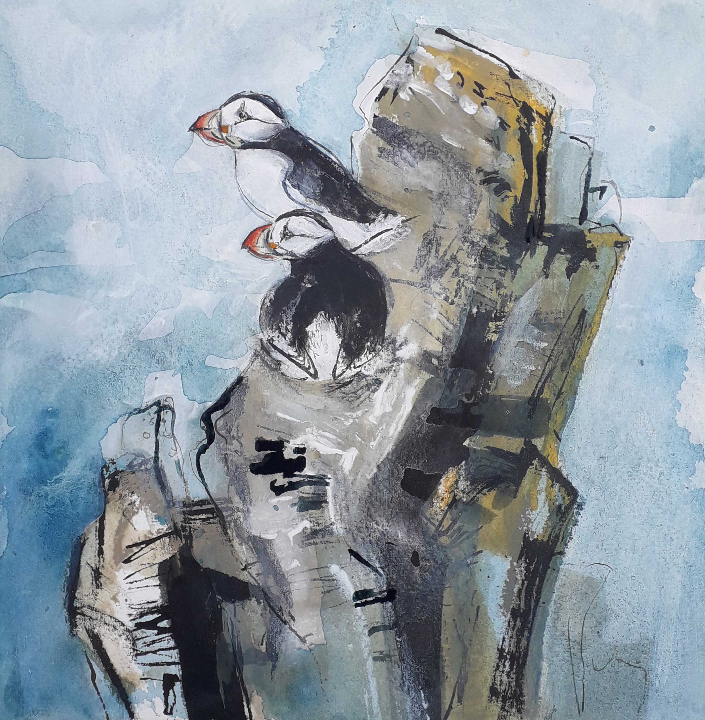 Liz Myhill Two Puffins
