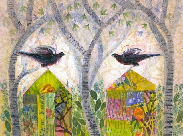 Ann Ross RSW Two Bird Houses